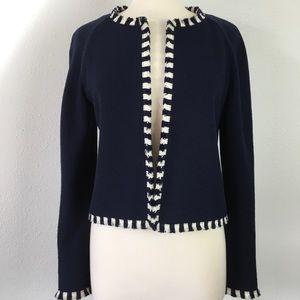 St. John collection navy & white fringe jacket EUC